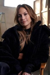 jacket,jennifer lopez,black,black jacket,celebrity,faux fur jacket,faux fur
