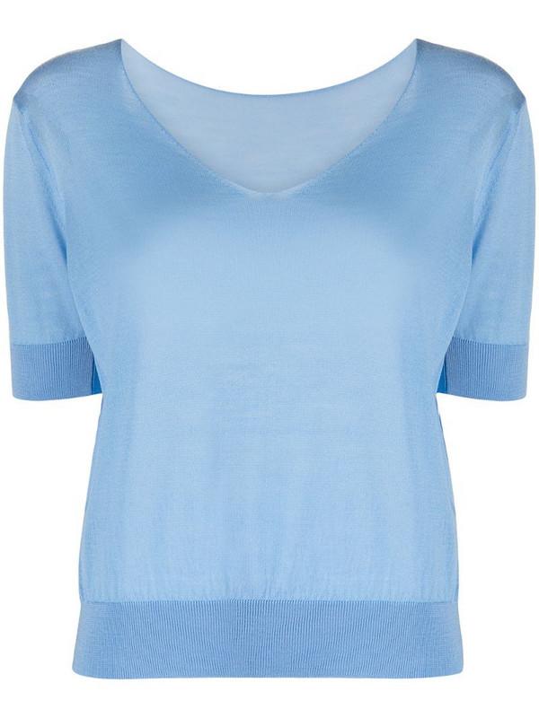 Roberto Collina merino wool fine knit top in blue