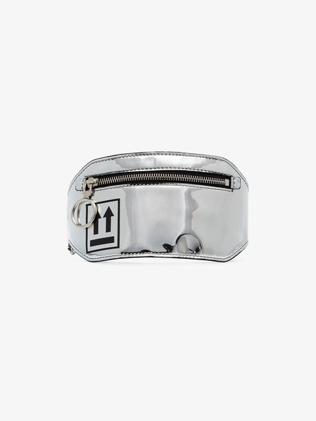 Off-White silver arrow-print patent-leather leg pouch