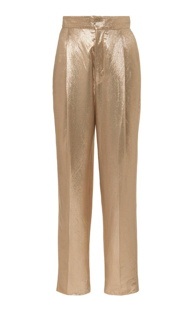 Dundas High-Rise Metallic Satin Trousers Size: 36 in gold