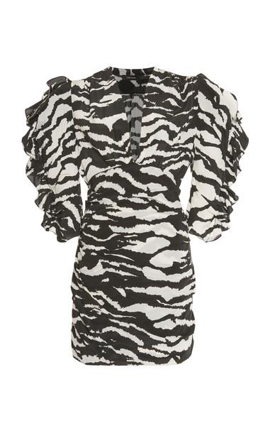 Isabel Marant Farah Zebra-Print Silk Mini Dress in black / white