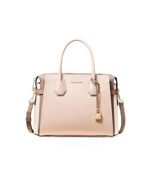 Michael Kors Medium Mercer Tricolor Satchel Bag in cream / pink