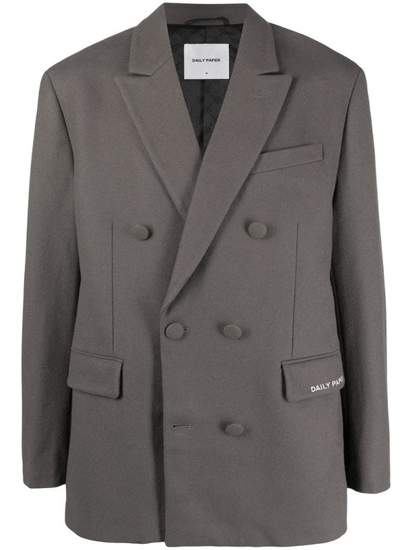 Daily Paper double-breasted wool-mix coat in grey