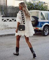 dress,white dress,lace dress,black boots,cowboy boots,black bag