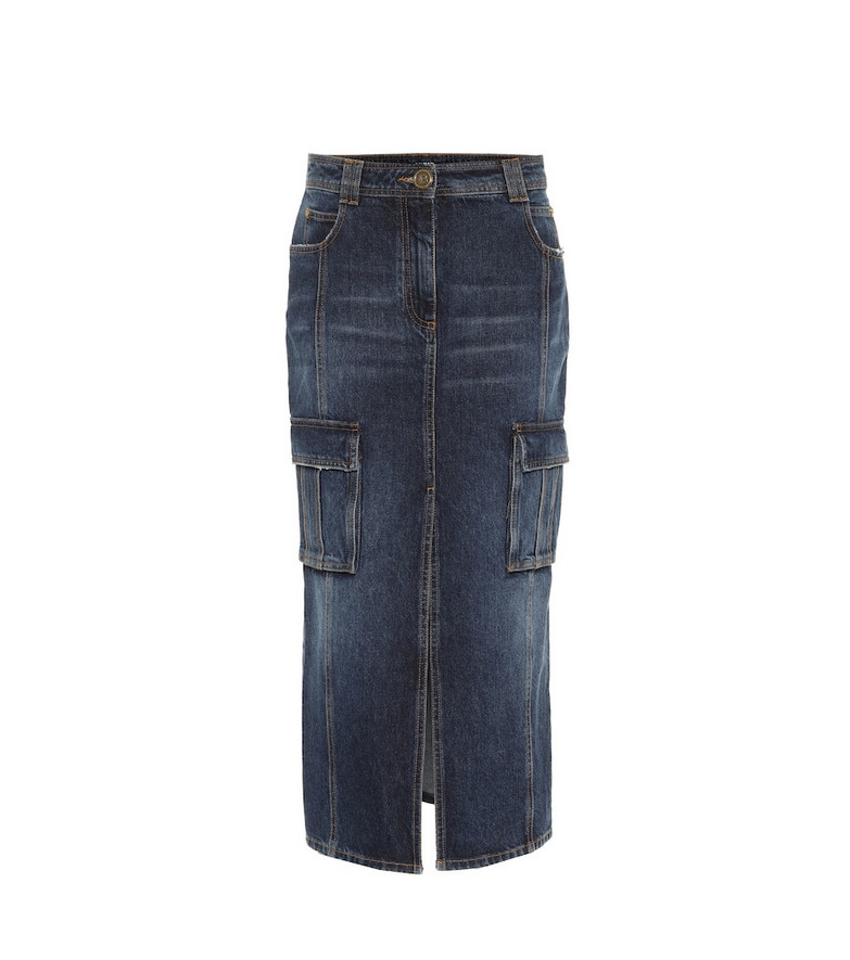 Balmain High-rise denim pencil skirt in blue