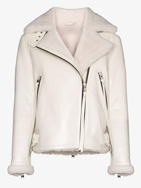 SHOREDTICH SKI CLUB SHOREDITCH SKI CLUB Grace shearling leather aviator jacket in white