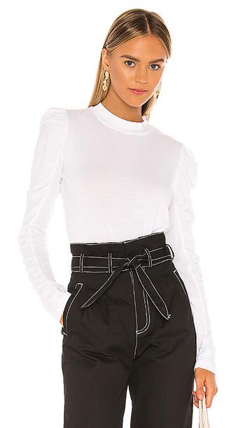 Bobi Light Weight Jersey Blouse in White