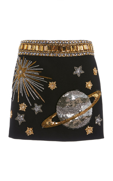 Andrew Gn Embroidered Wool Skirt in black
