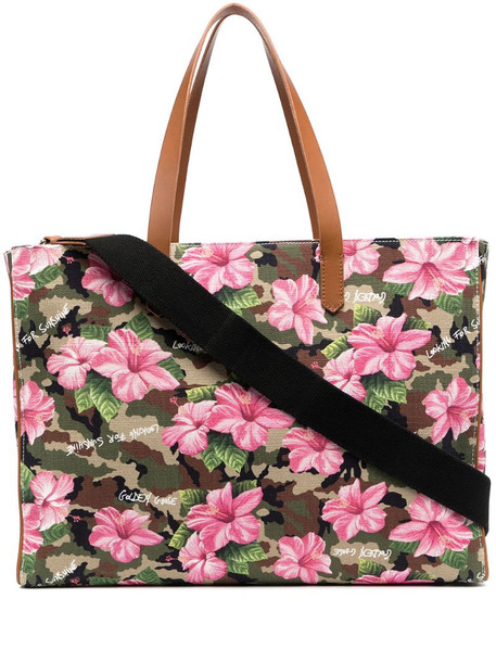 Golden Goose floral tote bag in green