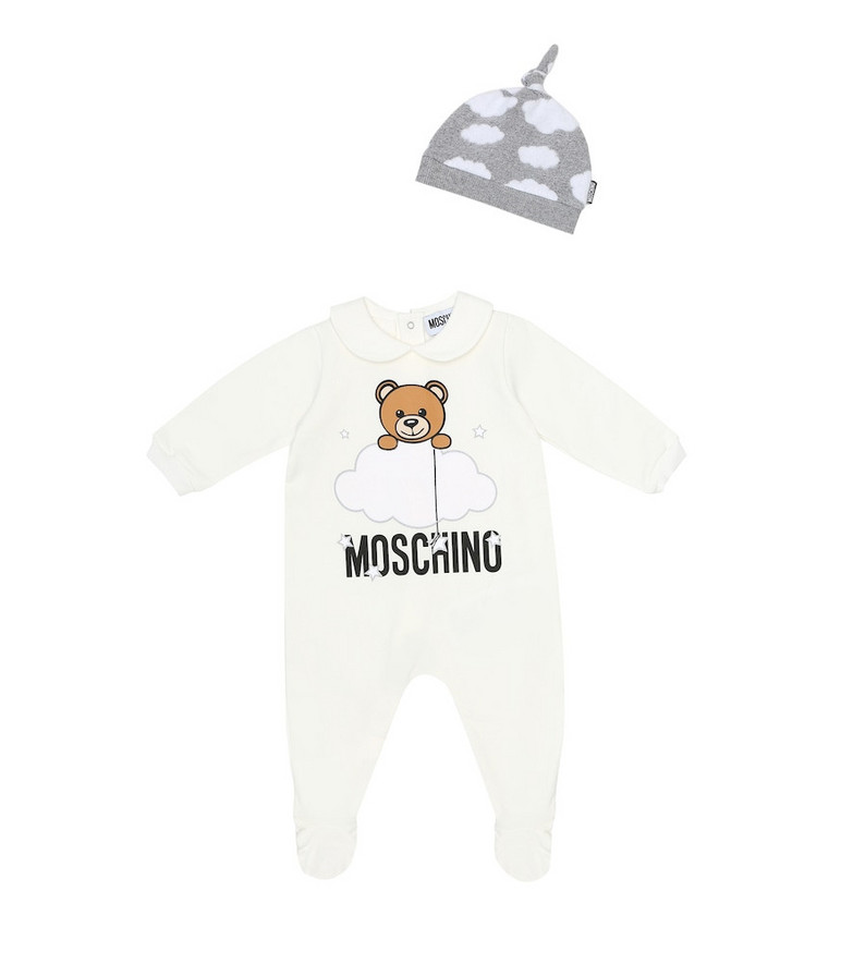 Moschino Kids Baby cotton onesie and hat set in white