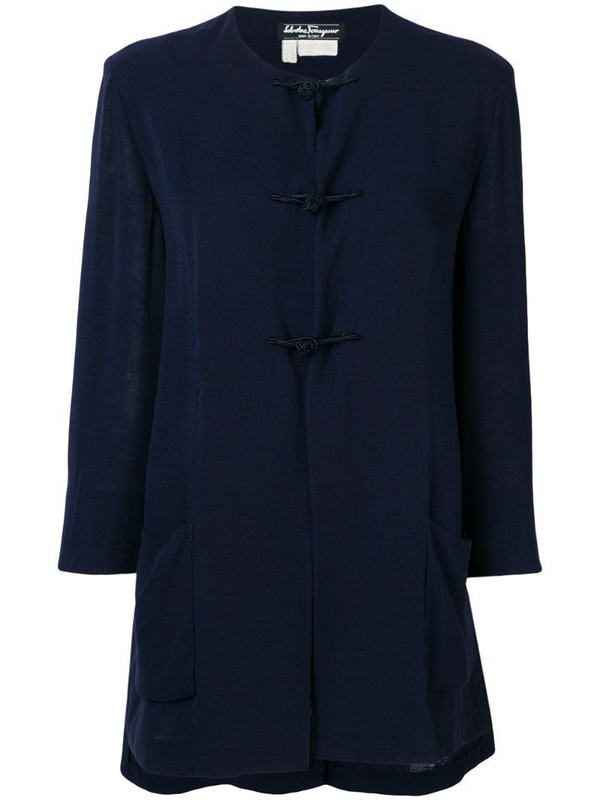 Salvatore Ferragamo Pre-Owned 1970's collarless flared coat in blue
