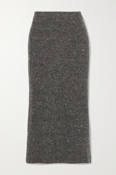 Altuzarra - Tony Ribbed Wool And Cashmere-blend Midi Skirt - Charcoal