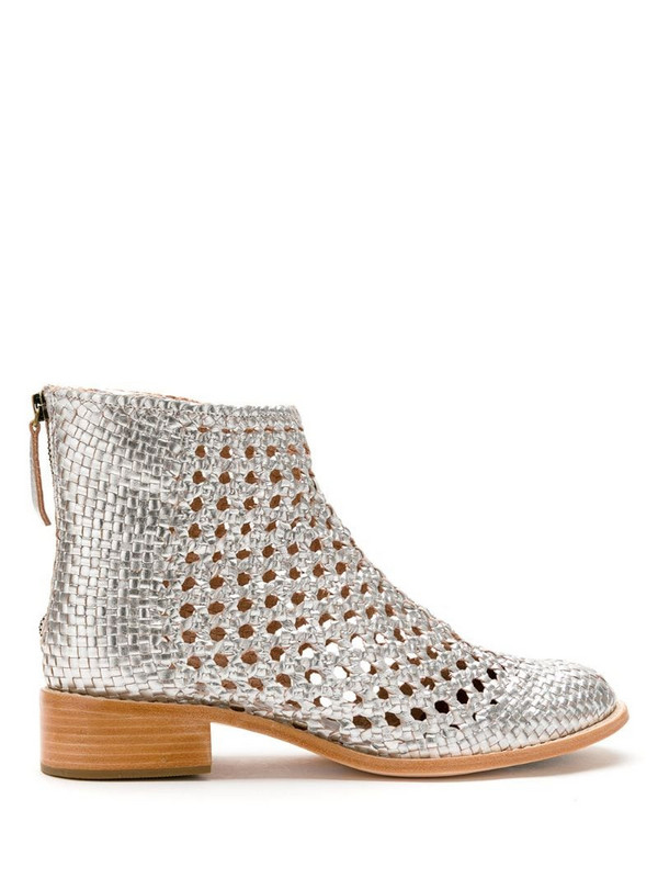 Sarah Chofakian leather Teca boots in silver