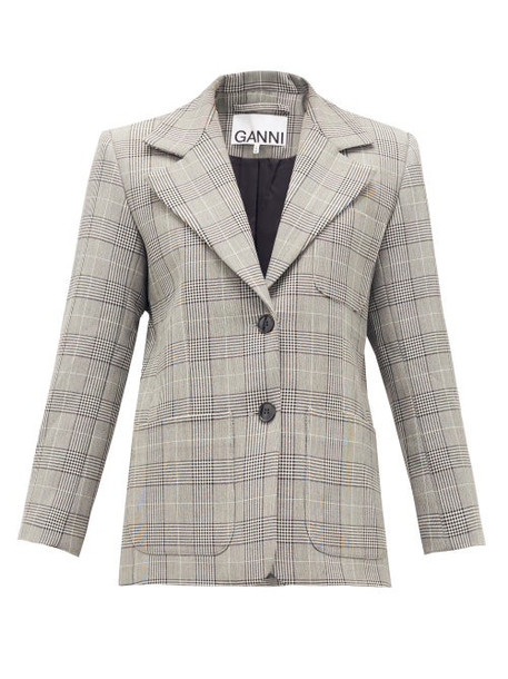Ganni - Single-breasted Prince Of Wales-check Blazer - Womens - Grey