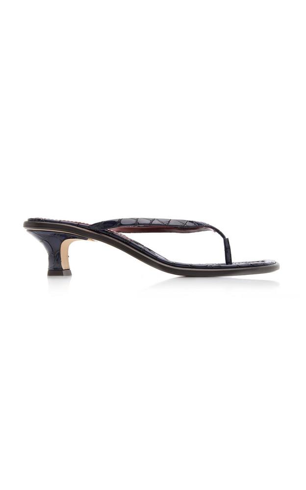 Sies Marjan Alix Croc-Effect Leather Sandals in navy