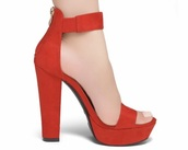shoes,red,high heels,chunky heel,red high heels,ankle strap heels
