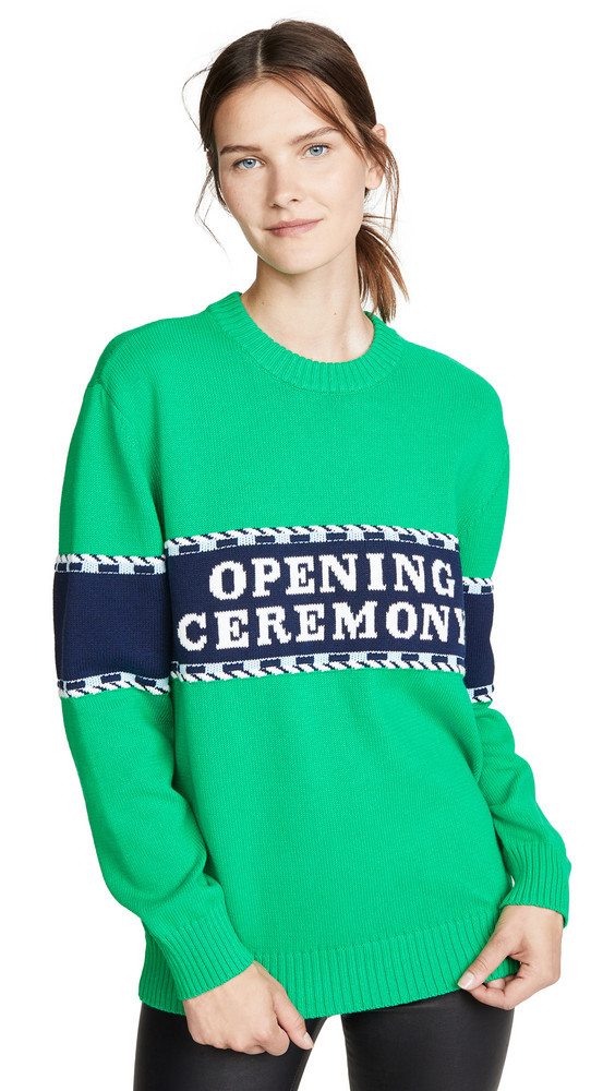 Opening Ceremony Logo Stripe Sweater in green / multi
