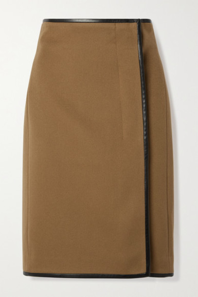 SAINT LAURENT - Leather-trimmed Wool And Cashmere-blend Wrap Skirt - Camel