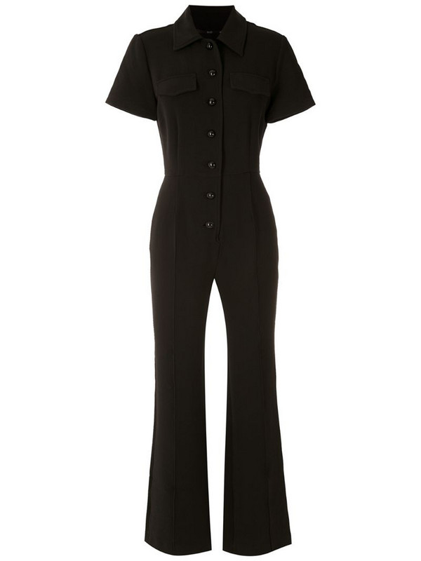 Eva crepe short sleeves jumpsuit in black