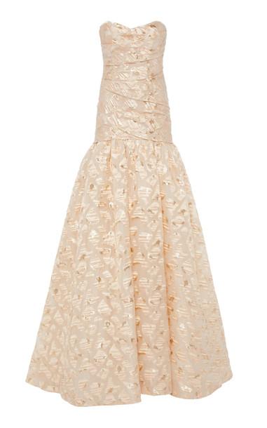 Monique Lhuillier Metallic Fil Coupé Dress in pink