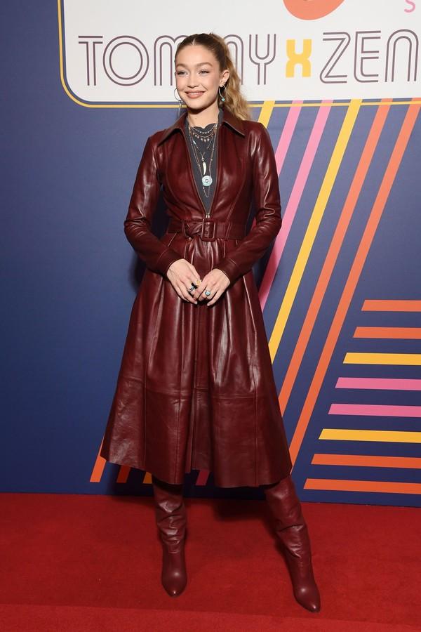 shoes burgundy coat leather model gigi hadid monochrome outfit monochrome fashion week