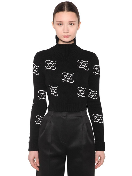 FENDI Embroidered Wool & Cashmere Knit Sweater in black