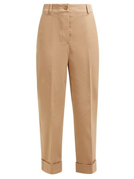 Burberry - Cotton Blend Twill Straight Leg Chino Trousers - Womens - Camel