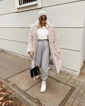 coat,teddy bear coat,joggers,white sneakers,black bag,white hoodie,beanie