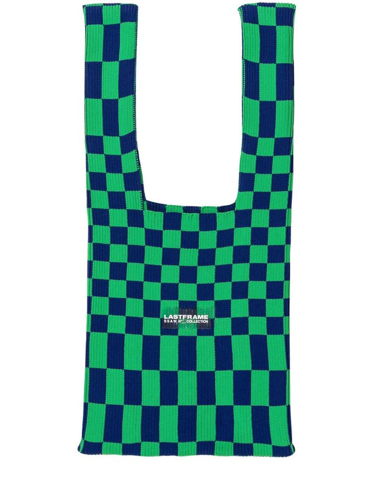 LASTFRAME Medium Ichimatsu Rib-knit Shoulder Bag in navy / green