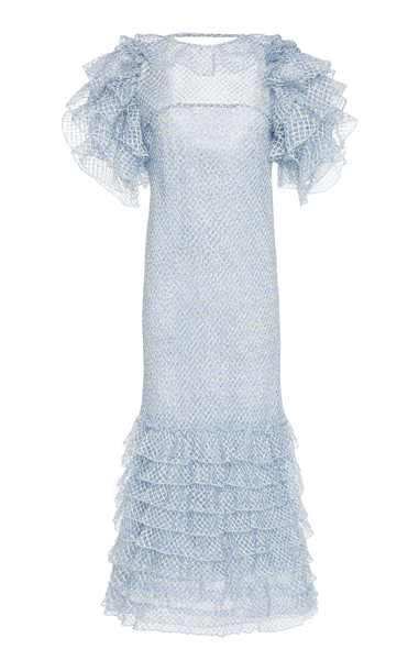 Luisa Beccaria Ruffled Tiered Organza And Georgette Midi Dress Size: 4 in blue