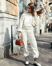 pants,white pants,cargo pants,high waisted pants,white boots,lace up boots,platform boots,brown bag,handbag,white sweater