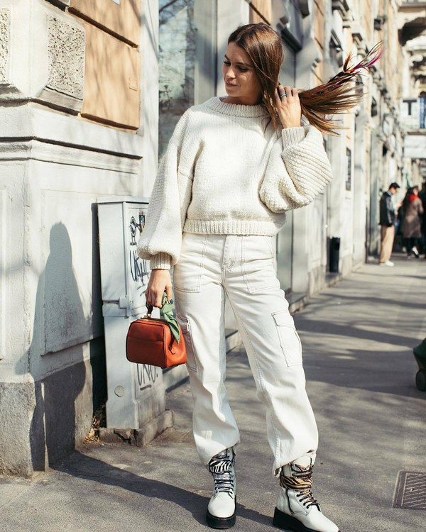 pants white pants cargo pants high waisted pants white boots lace up boots platform boots brown bag handbag white sweater