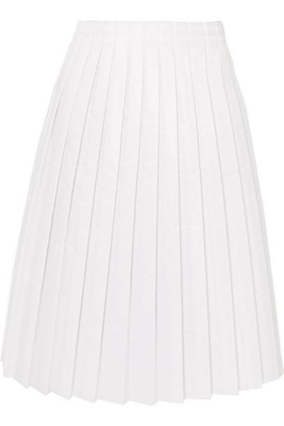 MM6 Maison Margiela - Pleated Padded Shell Midi Skirt - White