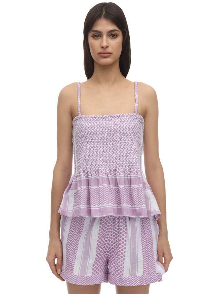 CECILIE COPENHAGEN Tonje Smocked Cotton Top in lilac