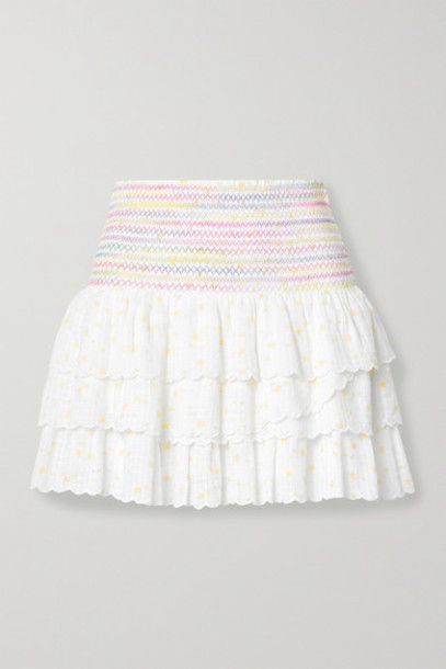 LoveShackFancy - Daffodil Smocked Tiered Printed Cotton-voile Mini Skirt - White