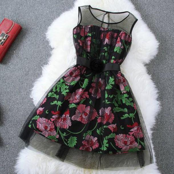 dress flowers pink short dress black dress floral dress sleeveless dress outfit