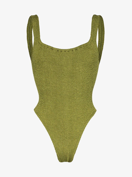 Hunza G Classic Square Neck swimsuit in green
