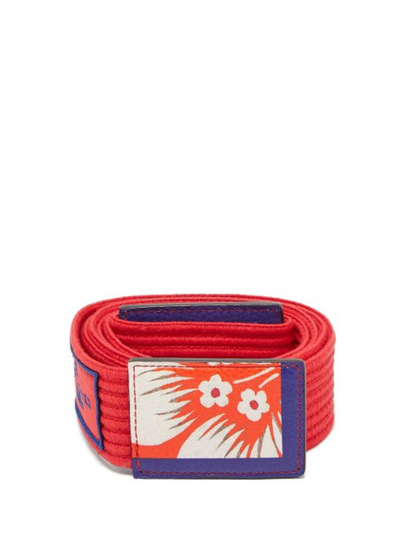 Etro - Floral Printed Ribbed Cotton Tie Belt - Womens - Red