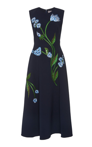 Lela Rose Full Skirt Dress in navy