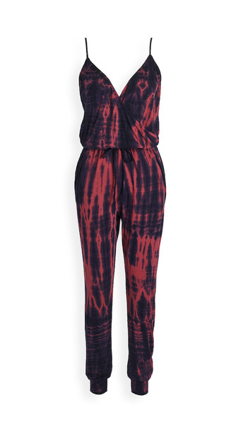 SUNDRY Wrap Front Spaghetti Strap Jumpsuit in navy / red