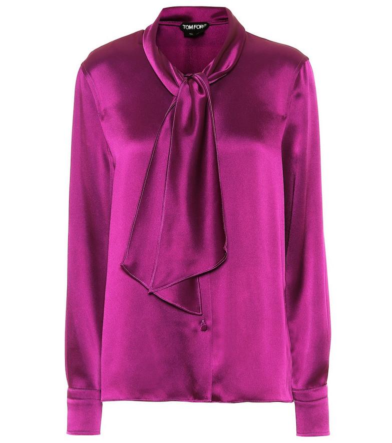 Tom Ford Tie-neck satin blouse in purple