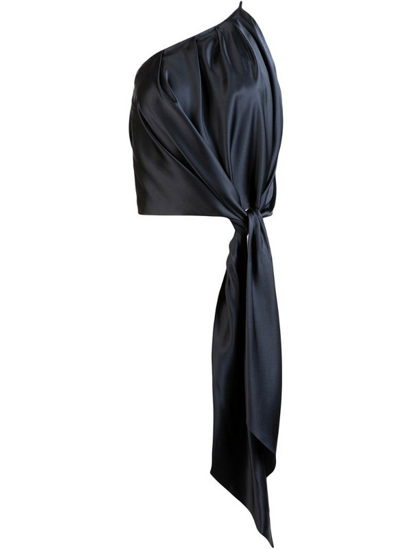 Michelle Mason draped-detail one-shoulder top in blue