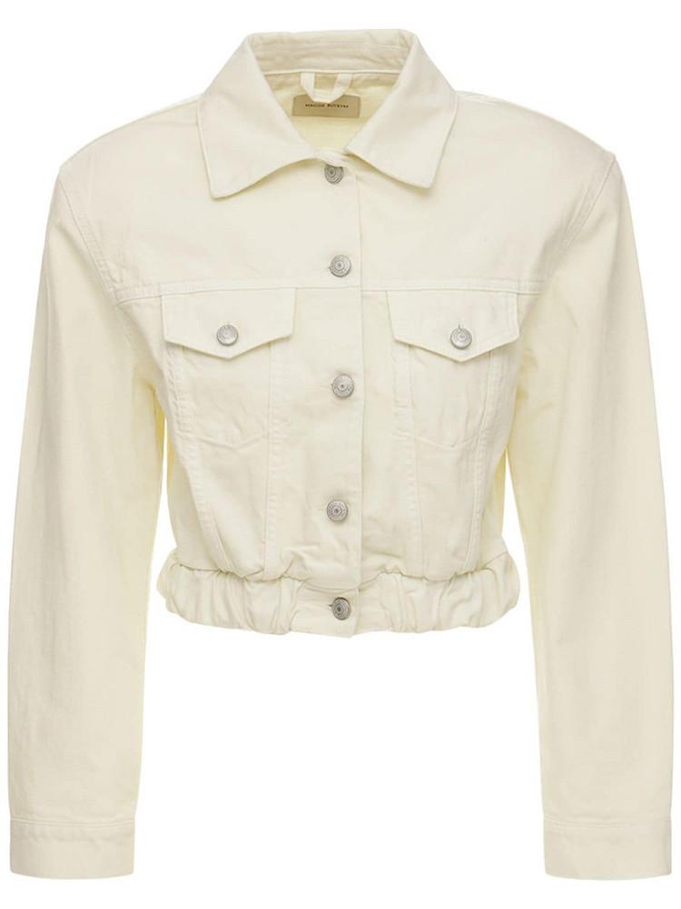 MAGDA BUTRYM Cotton Denim Cropped Jacket in ivory