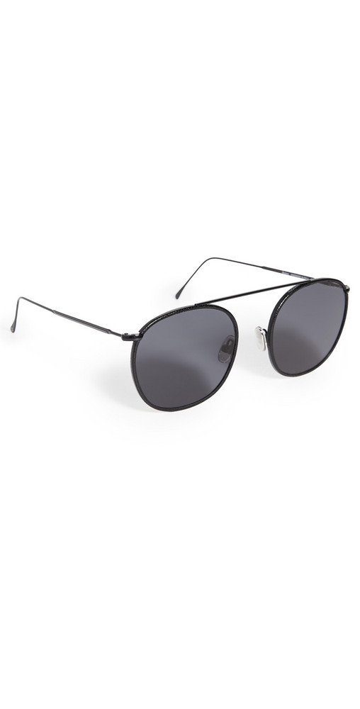 Illesteva Mykonos III Leather Trim Sunglasses in black