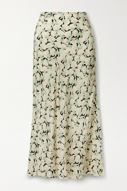 RIXO - Kelly Printed Silk Crepe De Chine Maxi Skirt - Black