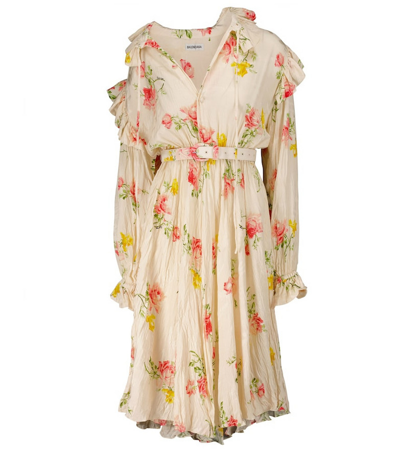 Balenciaga Floral silk midi dress in white