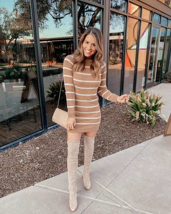 dress knitted dress striped dress over the knee boots suede boots bag