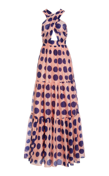 Ulla Johnson Fontaine Cotton Cutout Polka Dot Gown in pink