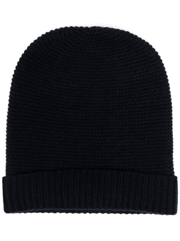 N.Peal knitted cashmere beanie in blue