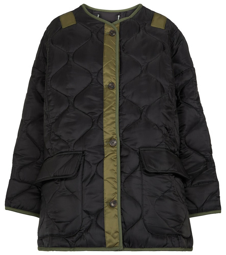Frankie Shop Teddy oversized quilted jacket in black